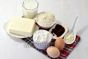 Для работы нам понадобится молоко, кофе, сливочное масло, сахар, мука, картофельный крахмал.