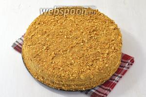 Посыпать торт со всех сторон крошками, приготовленными из обрезков коржей. Торт «Шифоновый медовик» готов.