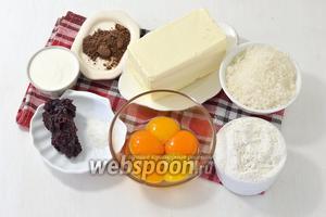 Для песочных коржей нам понадобится мука, сливочное масло, яйца, сахар, сметана, какао, разрыхлитель, повидло. Повидло должно быть густым и кисло-сладким. Подойдёт повидло из чёрной или красной смородины, из алычи. Сладкое повидло не подойдёт, так как кислота повидла в коржах уравновешивает сладость остальной части торта.