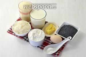 Для работы нам понадобится манка, молоко, сахар, мука, сливочное масло, мак, разрыхлитель, яйца.