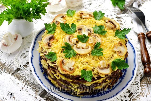 Фото Печёночный торт с грибами