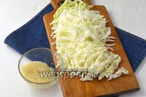 А в кипящий бульон добавить промытый рис (5 ст. л.) и нарезанную капусту (300 г). Приправить по вкусу солью.