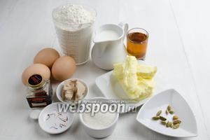 Чтобы приготовить тесто для куличей, нужно взять молоко, дрожжи, сахар, яйца, муку, масло, соль, кардамон, шафран, коньяк.