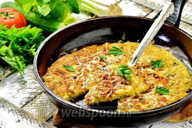Фото Картофельный пирог на сковороде