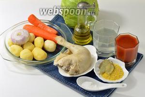 Для работы нам понадобится куриный бульон и варёный окорочок из бульона, свежая капуста, картофель, лук, морковь, томатный сок, рис, лавровый лист, соль, подсолнечное масло.