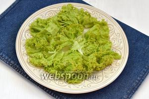 150 г салата вымыть, высушить, порвать руками и выложить на блюдо.