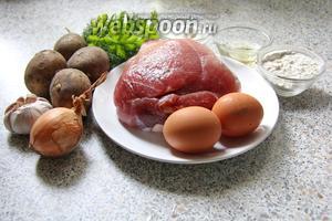 Для приготовления нам понадобится: свинина, картофель, лук, чеснок, укроп, петрушка.