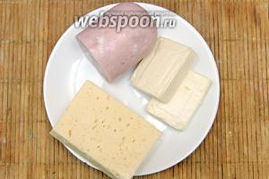 Приготовим начинку. Нам понадобится: сыр твёрдый (100 г), сыр плавленый (100 г), ветчина (100 г).
