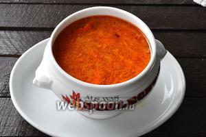 Томатный суп с рисом готов. Подавать его можно с ржаными гренками с чесноком.
