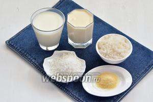 Для работы нам понадобится сливки, молоко, сахар, кокосовая стружка, желатин.