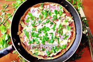 Пицца на кефире на сковороде