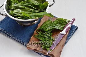 Листья щавеля (250 г) тщательно промыть, удалить стебли, стряхнуть влагу и нарезать тонкими полосками.
