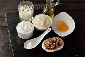 Для работы нам понадобится молоко, сахар, мёд, орехи, подсолнечное масло, сода, мука.