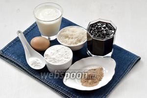 Для работы нам понадобится кефир, варенье, сахар, сода, мука, пряничный сахар.