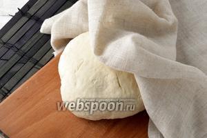 Добавить 220 мл воды и замесить мягкое тесто. Муки может понадобиться больше или меньше (это зависит от влажности самой муки). Накрыть тесто полотенцем и оставить на 30 минут.