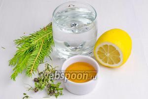 Чтобы приготовить чай из хвои, нужно взять молодые веточки с нежной мягкой хвоей, горный чабрец, воду, мёд, тонкие дольки лимона.