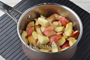 Яблоки (1 кг) вымыть, удалить сердцевину и порезать на кусочки. Поместить яблоки в толстостенную кастрюлю вместе с водой (100 мл). Закрыть крышкой и проварить до мягкости (приблизительно 15-20 минут). Возможно, что вам понадобится немного больше воды — это зависит от сочности яблок.