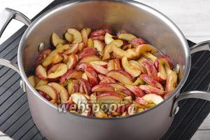 Довести яблоки в сиропе до кипения и проварить 5 минут. При этом яблоки не мешать, а лишь встряхивать кастрюлю, чтобы все яблоки варились в сиропе. Снять с огня, накрыть крышкой. Оставить на 12 часов.