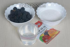 Для приготовления мармелада понадобятся ягоды, сахар, агар-агар и вода.