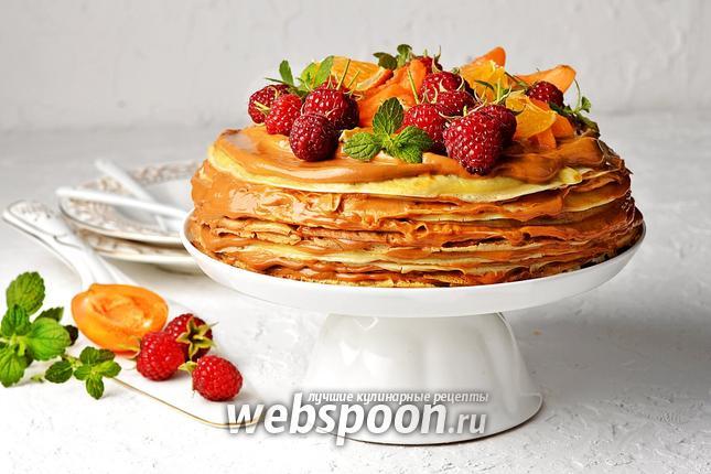 Фото Блинный торт со сгущёнкой