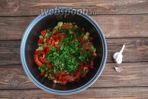 Добавить измельчённую зелень (3 ветки петрушки). Посолить, поперчить по вкусу и включить функцию «Тушение» на 20-30 минут.