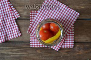 Выложить часть помидор.