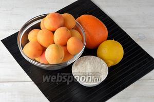 Для работы нам понадобятся абрикосы, сахар, апельсин, лимон.