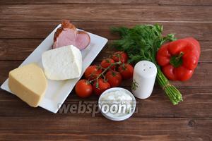 Подготовить все ингредиенты: буженину, твёрдый сыр, мягкий сыр, помидоры черри, сладкий болгарский перец, укроп, петрушку, сметану, соль.