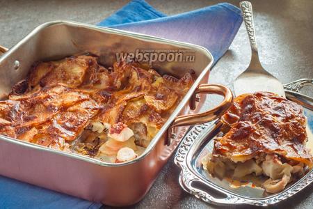 Постная картофельная запеканка с осьминогом