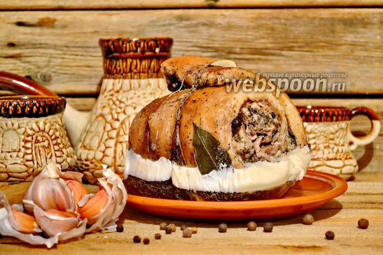 Фото Свиной рулет из брюшины вареный