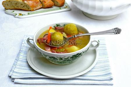 Фото рецепта Суп с брюссельской капустой