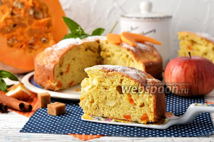 Фото Шарлотка с тыквой и яблоками