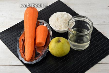 Для работы нам понадобятся яблоки, морковь, сахар, вода.