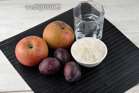 Для работы нам понадобятся яблоки, сливы, сахар, вода.