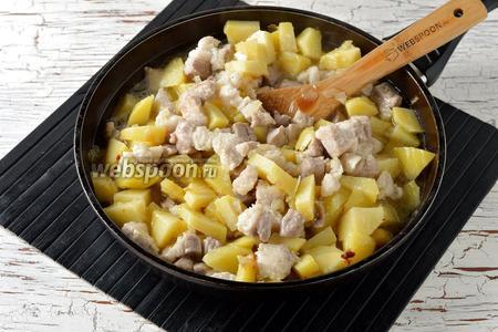 Добавить кипящую воду (250 мл), соль (1 ч. л.), чёрный молотый перец (0,2 ч. л.). Перемешать, накрыть крышкой и тушить до полуготовности картофеля.