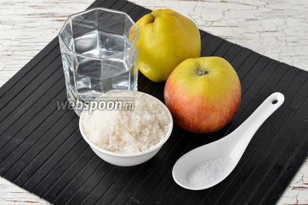 Для работы нам понадобится айва, яблоки, вода, сахар, лимонная кислота.