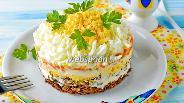 Фото рецепта Слоёный салат с говяжьей печенью