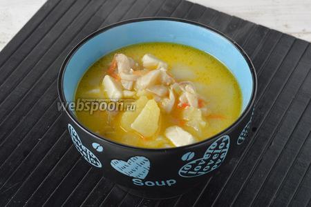 Суп с вёшенками и курицей готов.