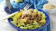Фото рецепта Тёплый салат с вёшенками