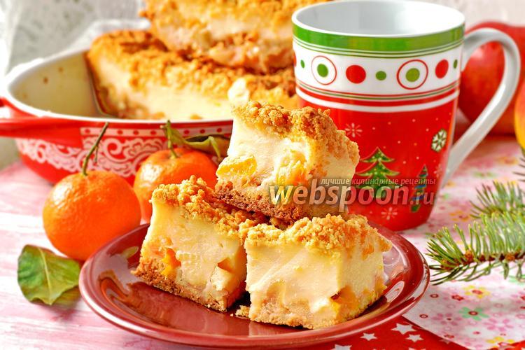 Фото Пирог с мандаринами и яблоками