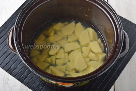 Картофель (150 г) очистить, нарезать небольшими кусочками и залить водой так, чтобы она едва прикрывала картошку, добавить соль (0,5 ч. л.). Варить под крышкой на медленном огне 15-17 минут.