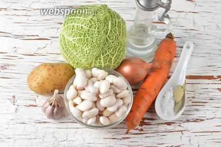 Для работы нам понадобится картофель, лук, морковь, белая фасоль, чеснок, подсолнечное масло, соль, лавровый лист.
