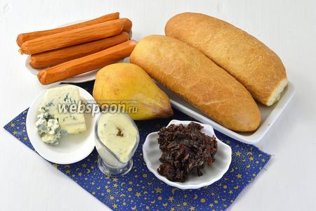 Для работы нам понадобятся булочки для хот-догов, сосиски, горячий соус Блю виз и луковый джем.