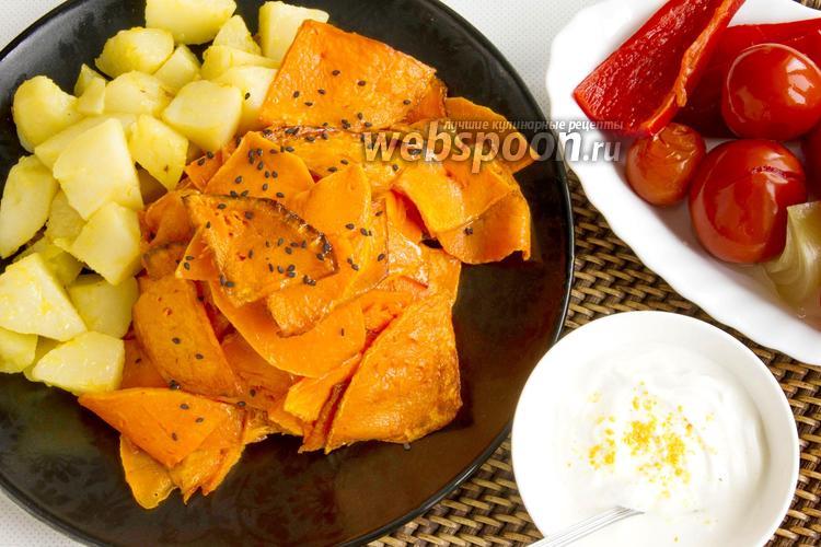 Фото Жареная на сковороде тыква