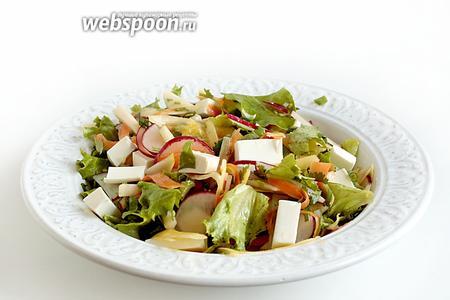 Кубики Фетаксы выложить в тарелки сверху, при подаче салата. Яркий салат из моркови и редиса готов. Приятного аппетита!