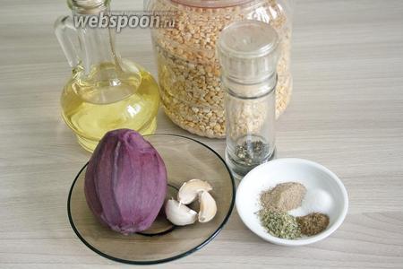 Для рецепта понадобятся горох сухой дроблёный (можно целый), масло растительное, свёкла (или готовый свекольный сок), чеснок, молотый чёрный перец, кориандр, майоран, мускатный орех молотый, соль.
