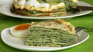 Фото рецепта Блинный торт шпинатный
