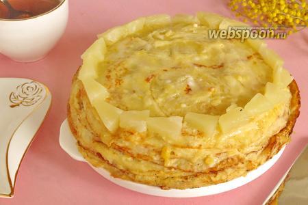 Блинный торт ананасовый