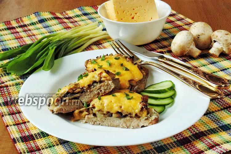 Фото Свиные отбивные с сыром и грибами