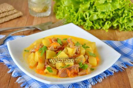 Куриные желудочки с картошкой